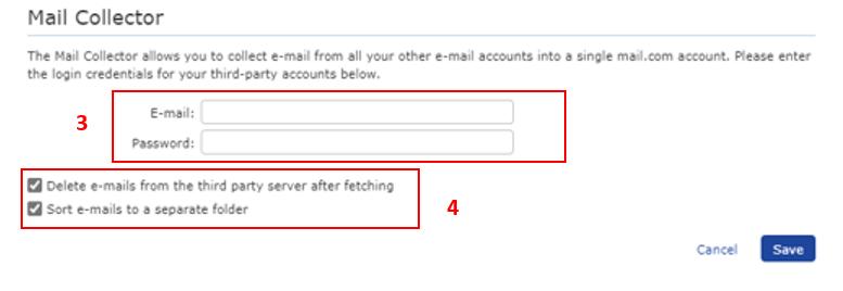 Screenshot of Mail Collector setup menu