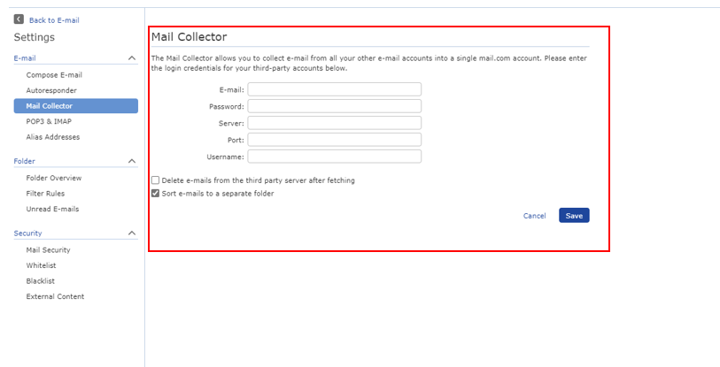 Screenshot of Mail Collector login information for third-party accounts
