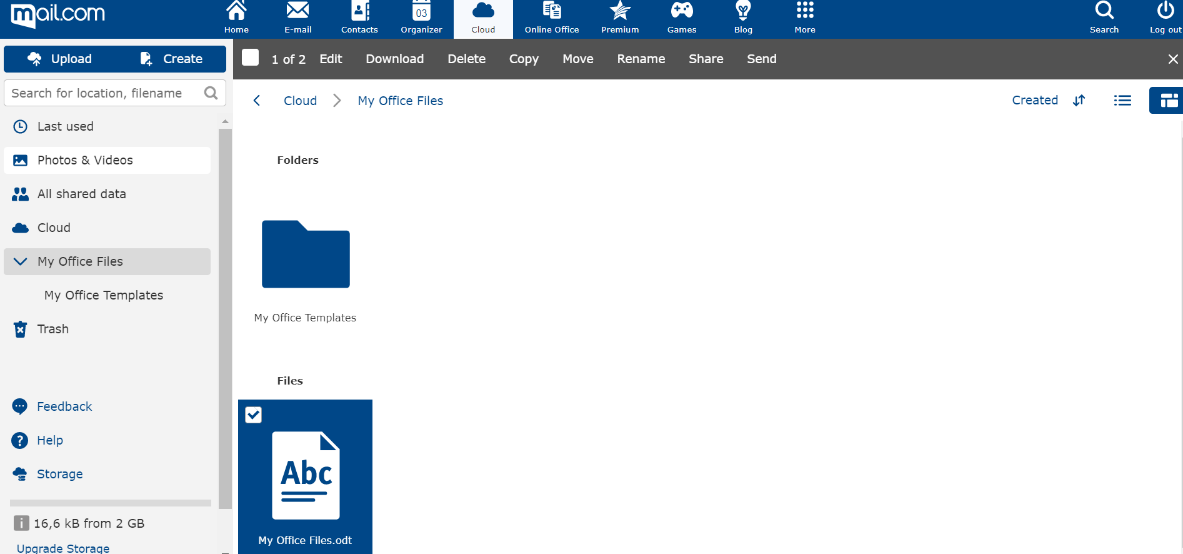 Screenshot of folders for saving Online Office documents