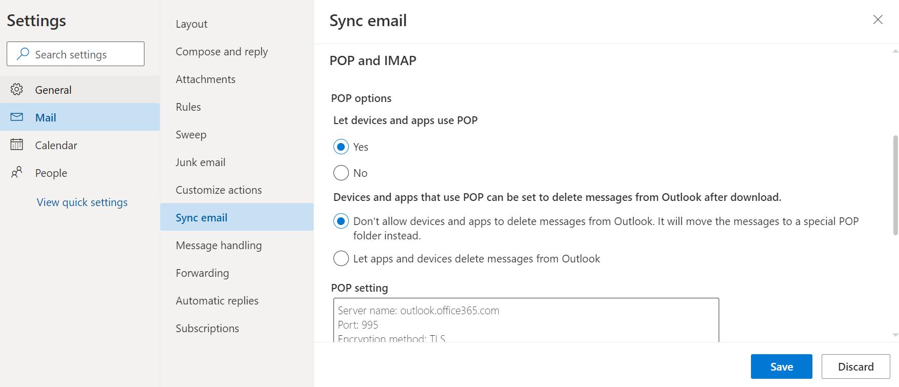 Screenshot of Outlook Sync email menu