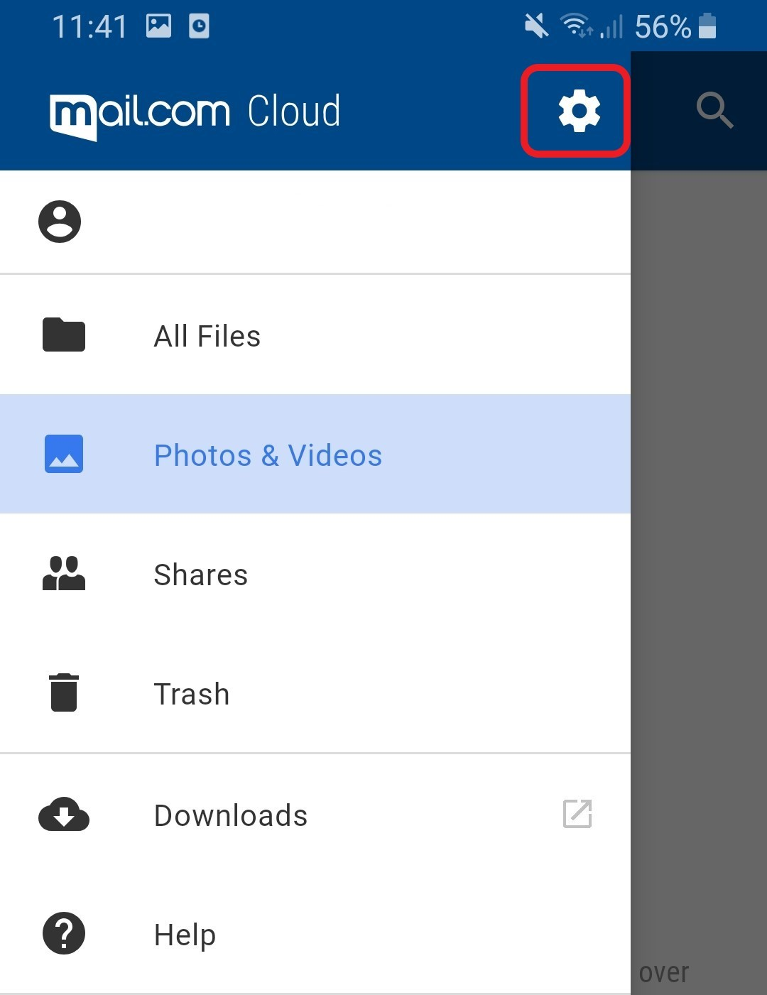 Screenshot of Cloud settings in Mail App for Android