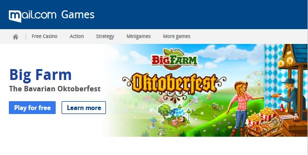 Screenshot of mail.com Games page showing Big Farm Oktoberfest