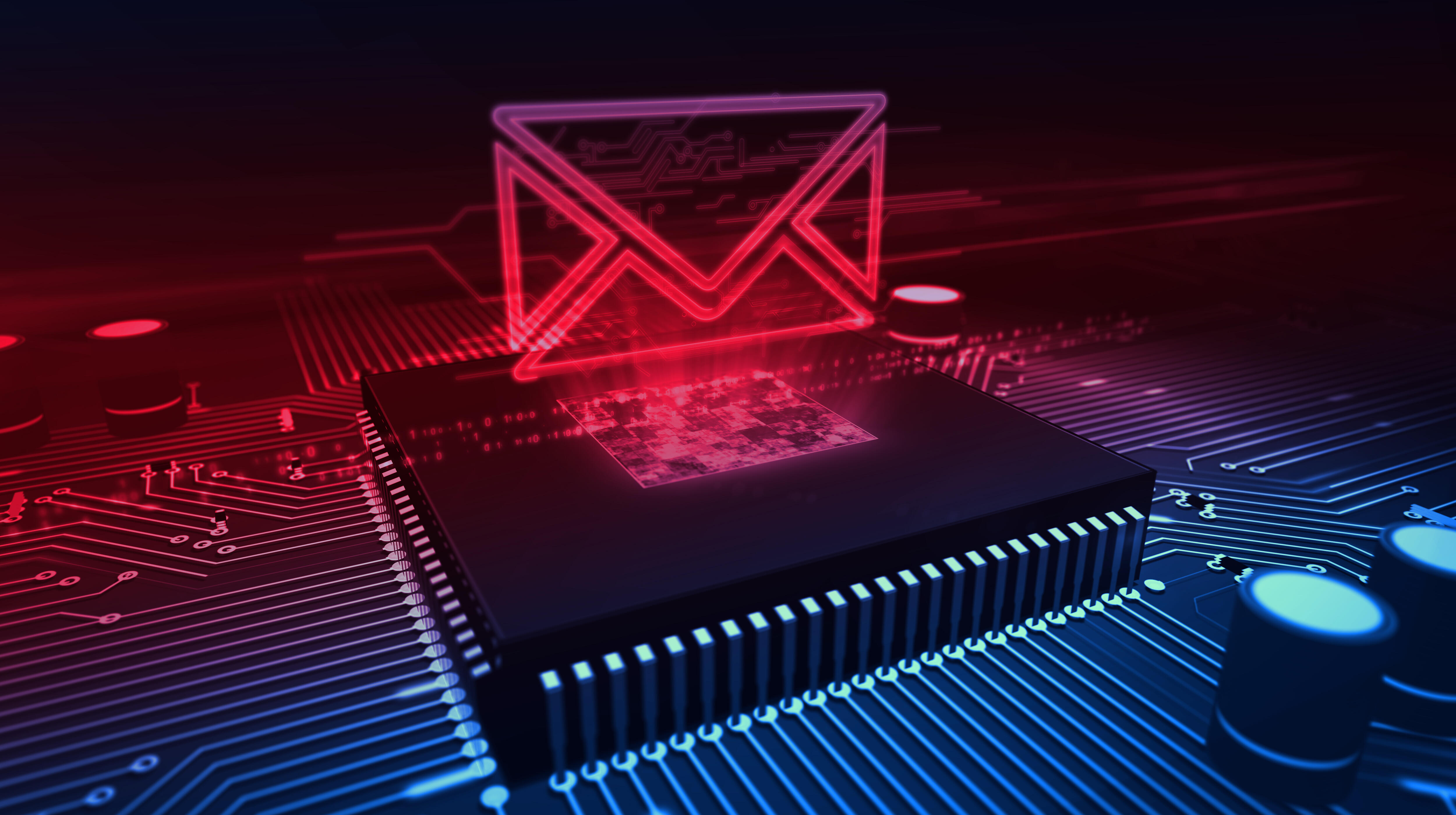 Internet email communication in cyberspace with envelope sign hologram over working cpu in background