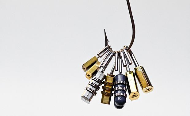 Several padlocks and combination locks caught on a fishing hook