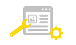 Webseite mit Schraubenschlüssel-Symbol