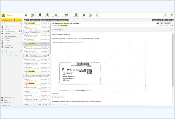 Einmal aktiviert, zeigt Ihnen die Briefankündigung bald eintreffende Briefpost an – samt Umschlagbild.