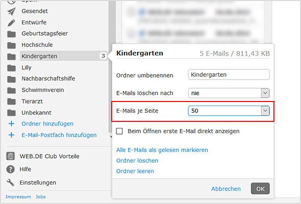 """Im Feld """"E-Mails je Seite"""" können Sie die Anzahl der E-Mails wählen."""