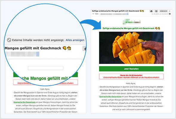Eine Mail, die fälschlicherweise im Spam-Ordner gelandet ist: Links ohne Bild – rechts nach dem Klick auf Alles anzeigen wird das Bild angezeigt.
