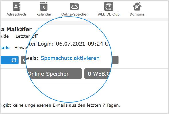 Spamschutz-Link auf der WEB.DE Postfachstartseite