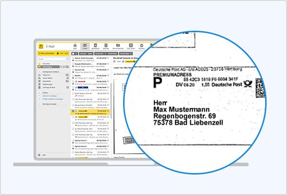 So sieht die Briefankündigung im Postfach aus: Links in der Mailliste die Ankündigungs-Mails mit gelbem Deutsche-Post-Logo. Rechts der Scan des Briefumschlags