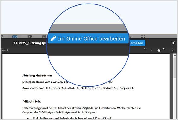 """Der E-Mail-Anhang im """"Anzeigen""""-Modus: Einfach auf den blauen Button klicken, Anhang direkt bearbeiten!"""