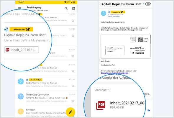 Links die Infomail in der E-Mail-Liste, rechts die geöffnete E-Mail mit dem PDF-Anhang.