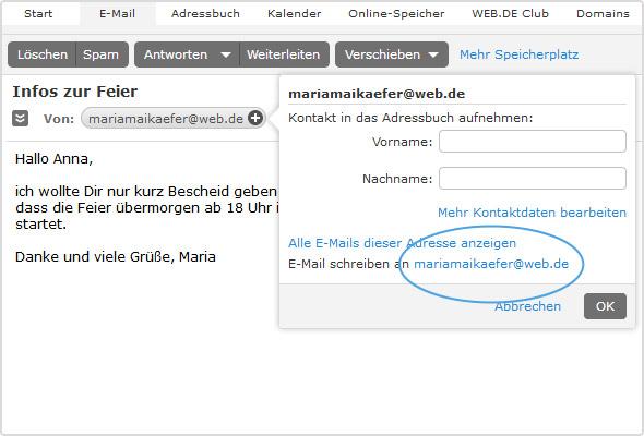 Schnelle Blanko-Antwort: Nutzen Sie untenstehende E-Mail-Adresse (hier blau markiert) im Adressfenster.