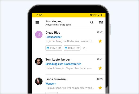 Android App: Anzeige von E-Mail-Anhängen in der Mail-Liste.