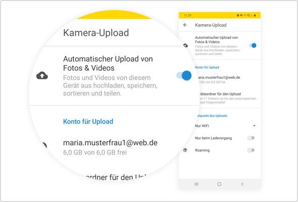 Die automatische Fotosicherung in der Android App.