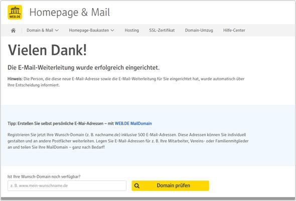 Bestätigung der eingerichteten E-Mail-Weiterleitung.