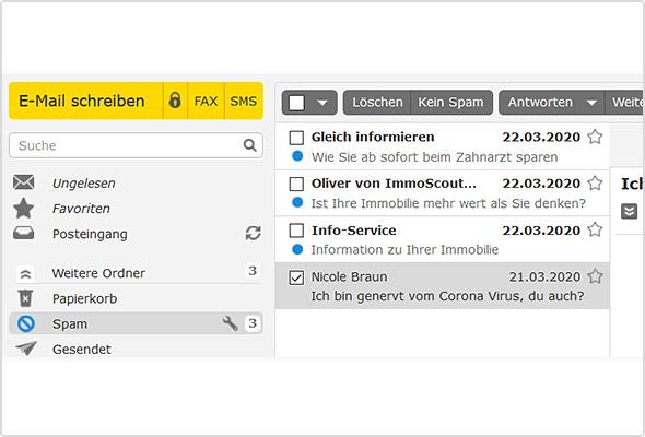"""Beispiel für eine """"Corona-Phishing-Mail"""" aus dem WEB.DE Spam-Ordner"""