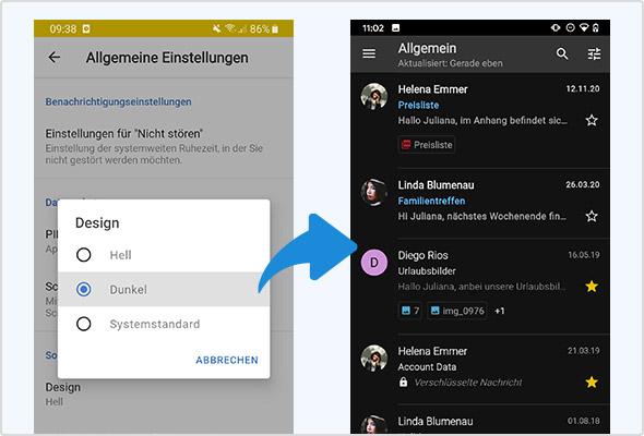 Dark Mode für die Android App.