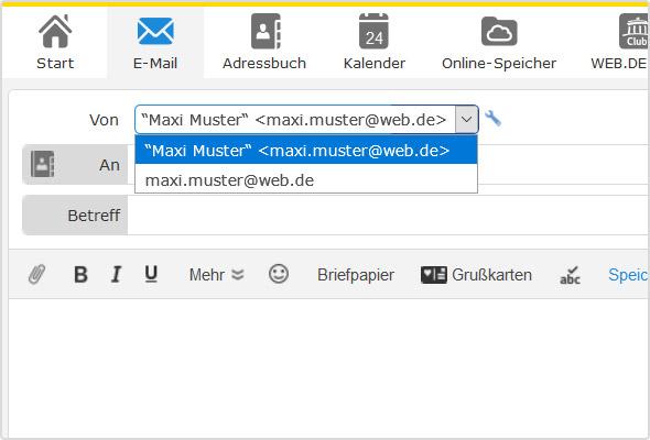 Hier das Dropdown-Menü zur Auswahl des Absendernamens direkt im Mail Editor.