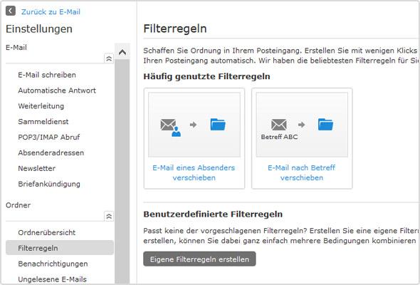 Einstellungen zu den Filterregeln im WEB.DE Postfach.