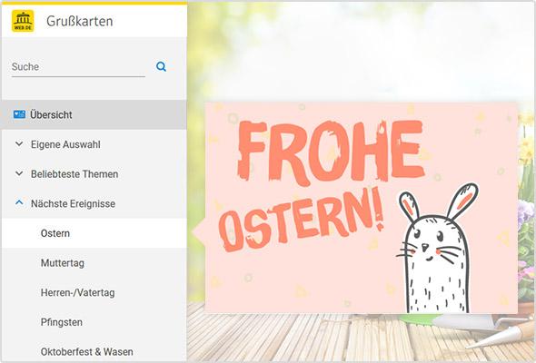 Digitale Ostergrußkarte im WEB.DE Postfach