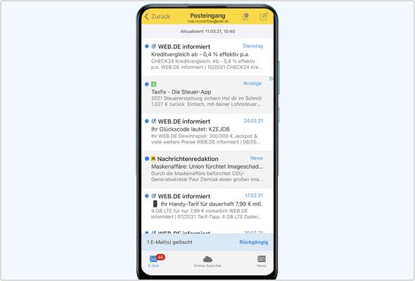 iOS App: Lösch- oder Verschiebeaktion rückgängig machen.