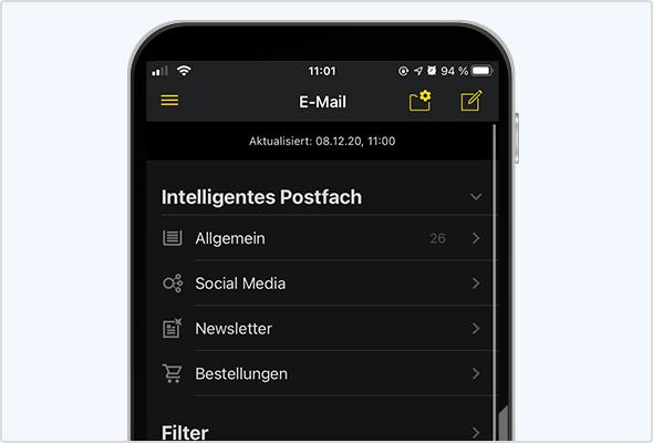 """Aktivierter """"dark mode"""" in der iOS App."""