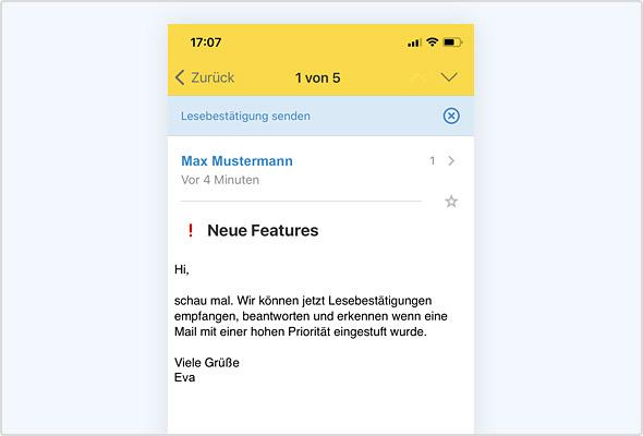 iOS App: Anzeige von Priorität und Lesebestätigung.