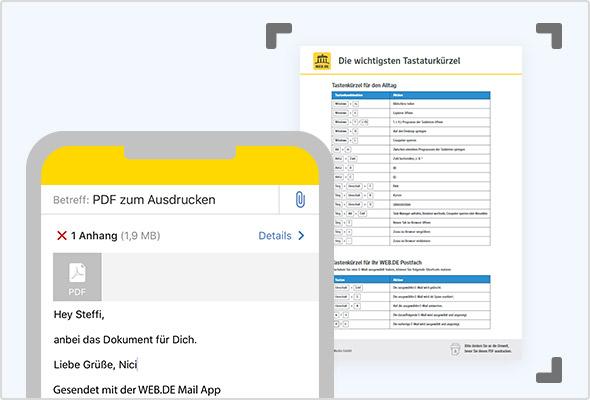 Dokumente direkt in der WEB.DE Mail App scannen.