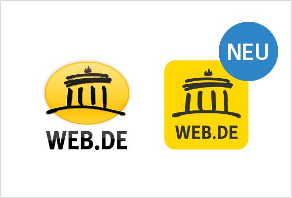 WEB.DE Logo: Alt und NEU um Vergleich