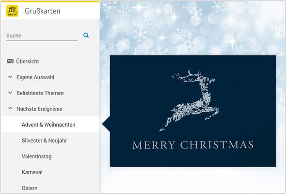 Weihnachtliche Grußkarten im WEB.DE Postfach.