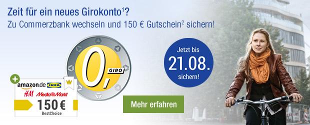 Zeit für ein neues Girokonto¹? Zu Commerzbank wechseln und 150 € Gutschein² sichern!