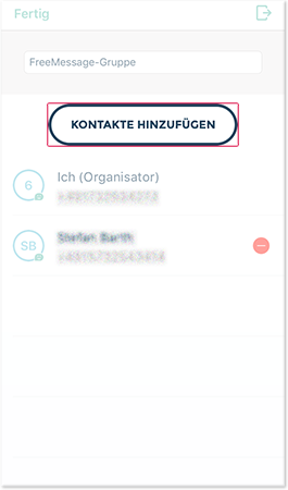 Neue Kontakte zu einer Gruppe hinzufügen
