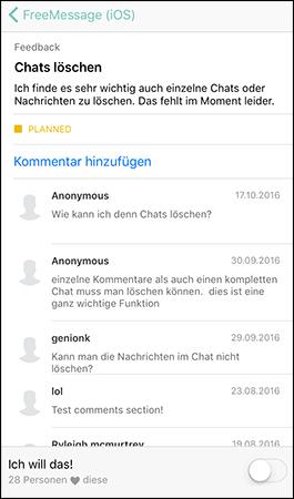 Auf Idee im Feedback-Forum reagieren
