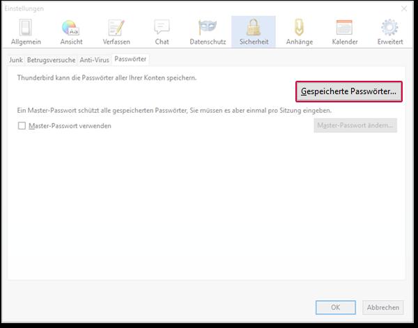 Einstellungen - Passwörter öffnen