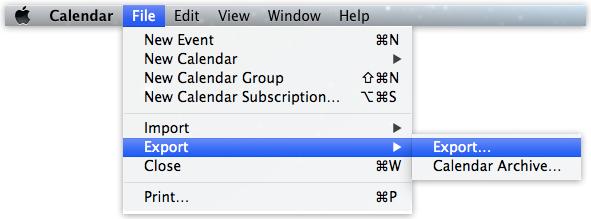 Kalender, Ablage, Exportieren.