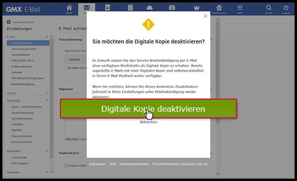 Digitale Kopie per E-Mail deaktivieren - GMX Hilfe