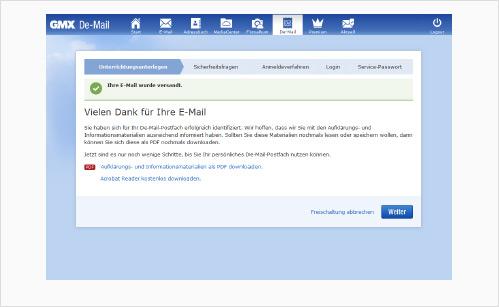 De-Mail-Postfach freischalten