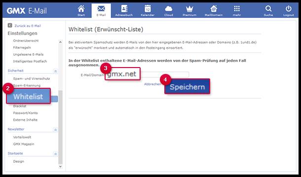 E-Mail-Adresse oder Domain in die Whitelist eintragen