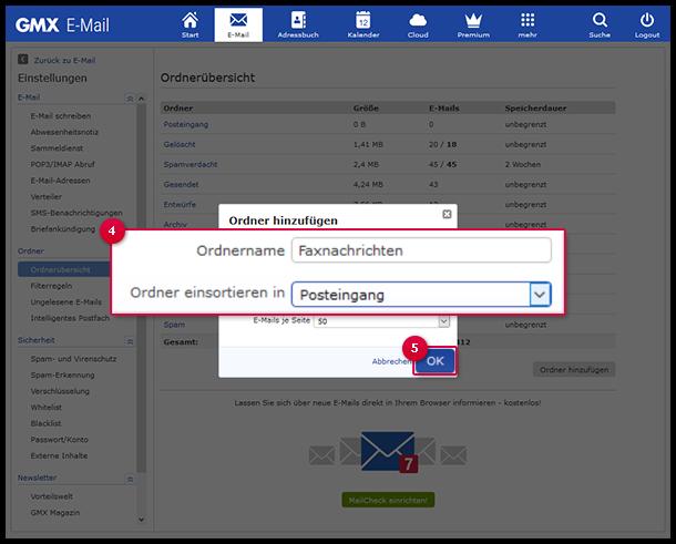Legen Sie eigene Ordner an, um zum Beispiel Newsletter in einen eigenen Ordner zu sortieren.