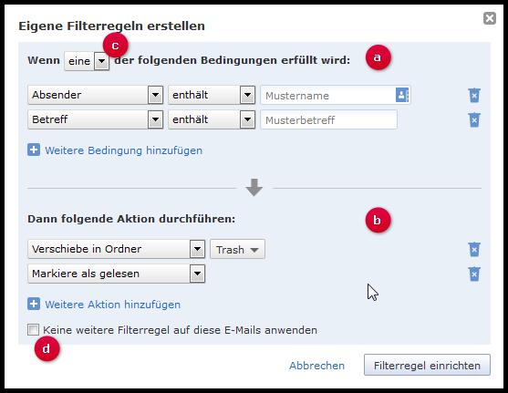 Benutzerdefinierte Filterregel