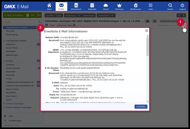 Rufen Sie den erweiterten Header auf, wenn Sie den Sendeverlauf einer E-Mail nachvollziehen möchten.