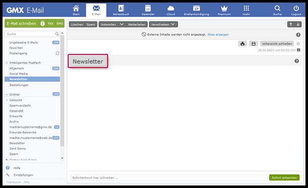 Intelligentes Postfach Newsletter erkennen