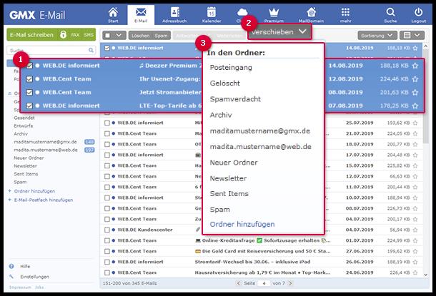 So verschieben Sie E-Mails über die Verschieben-Schaltfläche in einen Ordner