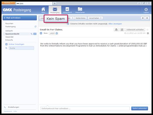 """So markieren Sie eine E-Mail als """"Kein Spam"""""""