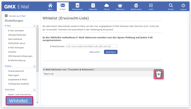 E-Mail-Adresse oder Domain aus der Whitelist löschen