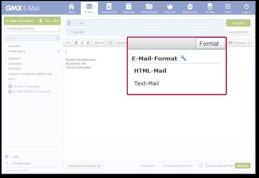 Schreiben Sie Ihre E-Mail auch als Text-Mail