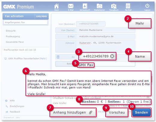 Fax im E-Mail-Account schreiben und versenden