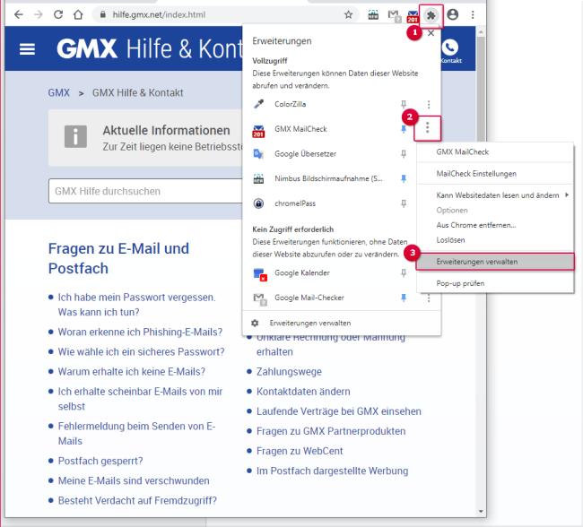 MailCheck aktivieren Schritte 1-3