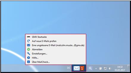 MailCheck über die Taskleiste verwenden